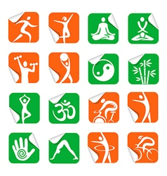 Stickers with yoga spa fitness icons vector