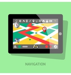 Tablet With Navigation Interface vector