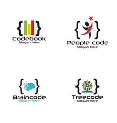 tech code logo vector image