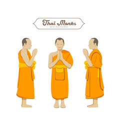 Thai monks greetings collections vector