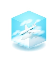 the cube The plane flies in the vector image