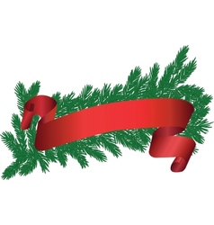 Tree brunch with red ribbon vector