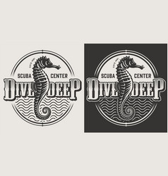 Vintage diving monochrome emblems vector