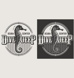 vintage diving monochrome emblems vector image