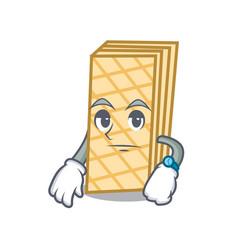 waiting waffle mascot cartoon style vector image