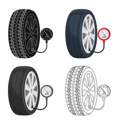Wheel and manometer single icon in cartoonoutline vector