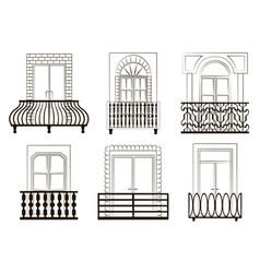 Window forms icons set balcony vector