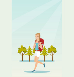 Young caucasian white woman with a backpack hiking vector
