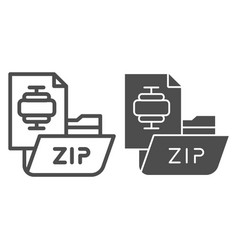 zip folder line and glyph icon archiving folder vector image