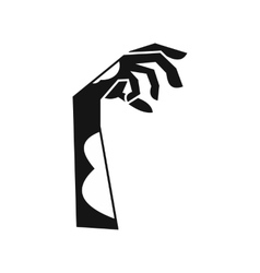 Zombie green hand icon simple style vector image