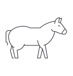 donkey line icon sign on vector image