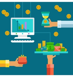 Flat concept for investment of savings vector image vector image