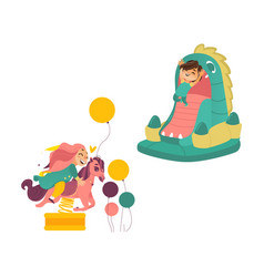 kids jumping in bouncer and riding spring horse vector image