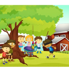 kids playing in nature vector image