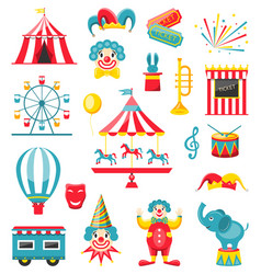 circus and carnival icons isolated on white vector image