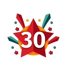 Happy thirtieth birthday badge icon vector image