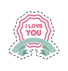 i love you decor ribbon label cut line vector image
