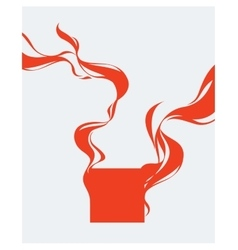 red square with abstract smoke wave elements vector image
