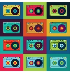 Retro poster with colorful cassettes vector image