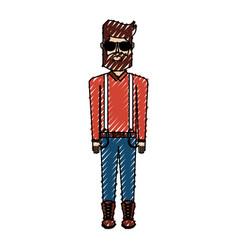 scribble vintage body man cartoon vector image vector image