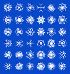 set winter snowflakes decorations snowfall vector image vector image