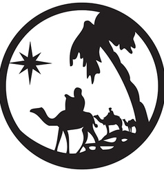 Adoration of the magi silhouette icon on white vector