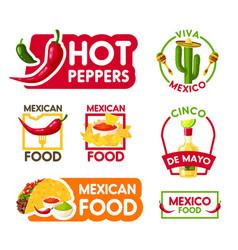 cinco de mayo mexican holiday food and drink icon vector image