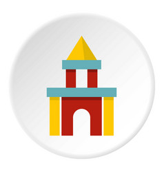 Colorful castle toy blocks icon circle vector