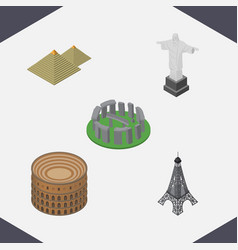 isometric cities set of egypt coliseum paris and vector image vector image