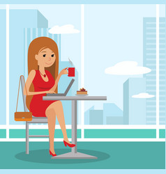 young cute girl sitting at table drinking coffee vector image