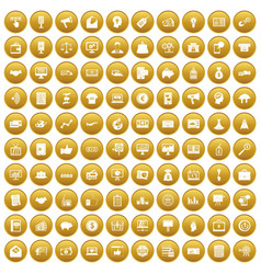 100 e-commerce icons set gold vector