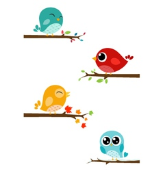 Birds sitting on branches vector image vector image