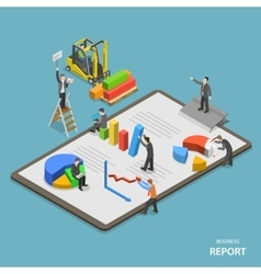 Business report isometric flat concept vector image vector image