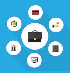 Flat icon incoming set of chart portfolio bank vector