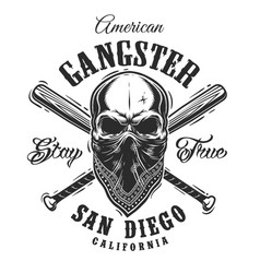 gangster emblem with skull in bandana vector image