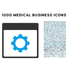 Gear Options Calendar Page Icon With 1000 Medical vector image vector image