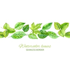 Horizontal seamless background with green leaves vector image vector image