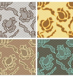 Set of lace seamless patterns with abstact flowers vector image vector image