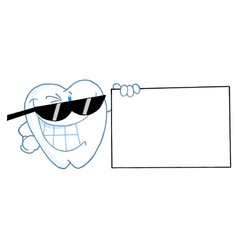 Smiling Tooth Character Presenting A Blank Sign vector image vector image