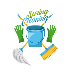 Spring cleaning bucket gloves mop and broom vector