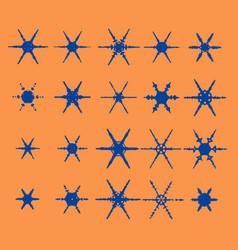 vintage snowflake set 20 original snow vector image