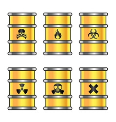 Yellow metallic barrels with warning sign vector