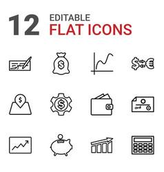 12 economy icons vector image