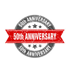 50th anniversary round stamp with ribbon label vector