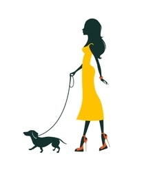 a Beautiful woman with dachshund vector image vector image