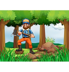 A forest with a woodman holding an axe vector