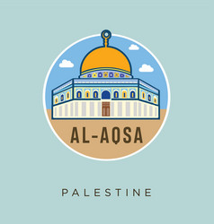 Al - aqsa mosque palestine jerusalem flat design vector