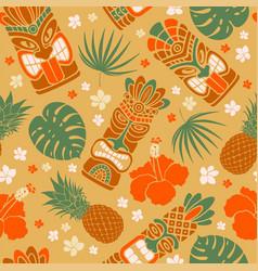 aloha seamless pattern with tiki mask vector image