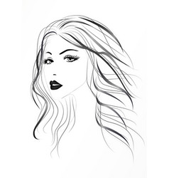 Beautiful womans face with long wavy hair black vector