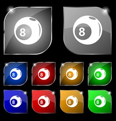 Billiards icon sign Set of ten colorful buttons vector